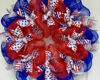Three Cheers For The Red White And Blue Patriotic Ribbon Deco Mesh Wreath