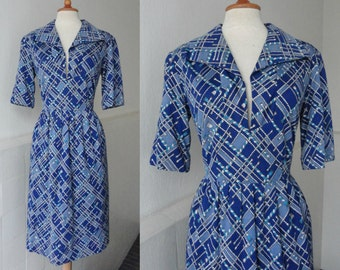 Blue 70s Vintage Dress With Cord Pattern