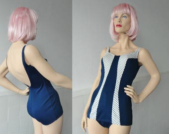 Blue 50s 60s Vintage Swimsuit With Dots // Elemko // Size 14 // Made In Israel