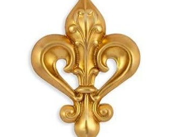 Raw Brass Stamping Fleur De Lis Finding, Embellishment, Dapped 45 mm 1 pc AMERICAN MADE