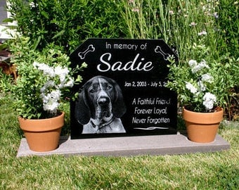 Pet Memorial Granite Stone Complete Pet Grave Marker w/Large Base Stand Dog Cat Headstone with Dog Photo