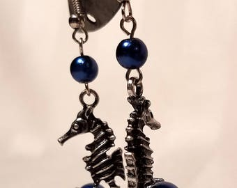 Seahorse Earrings with Blue Pearls, fishook french hook hypo allergenic earrings gift for her handmade jewellery glass pearl blue starfish