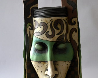 vase - ceramic vase - mask - ceramic mask - ceramic sculpture - sculpture - face - fantasy mask