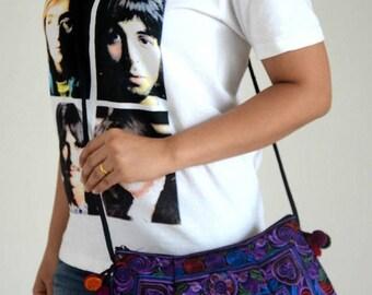 Vintage Style Embroidered Fabric Crossbody Bag Hmong Hill Tribe Bag Ethnic Messenger Bag Women Hippie Bag Dark Blue Shoulder Clutch Bag