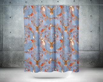 Woodland Deer  Shower Curtain Blue with Birds