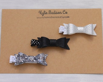 black, silver and charcoal petite hair bow clip (set of 3), baby hair clips