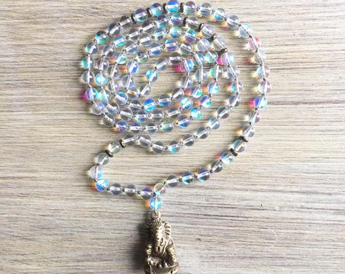 Opal Ganesh Amulet Mala Beads, 108 Mala, Gemstone, Handmade, Hand-knotted, Meditation, Yoga, Prayer Beads, Chakra, Healing