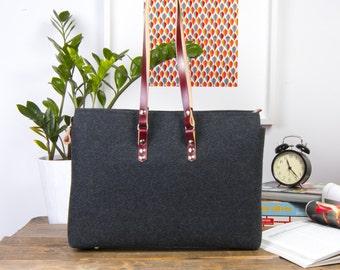 Burgundy Leather Shoulder Bag, Dark Grey Shoulder Bag, Roomy Interior with a lot of Pockets, Natural Leather and Felt Handbag