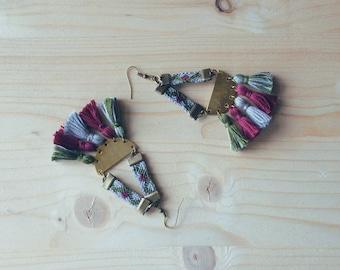 LUNA dangling earrings, khaki, grey and maroon Brazilian bracelet, pompoms, brass half circle, amerindian, handmade jewelry
