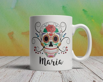 Sugar Skull Coffee Mug Custom Mug your Name Customized Day of th eDead Gift Personalized Dia de los Muertos Mexican holiday Mexico Skulls