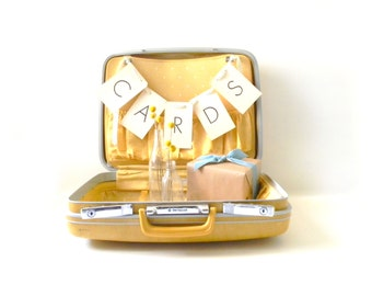 Vintage Yellow Samsonite Suitcase/ Wedding Card Holder