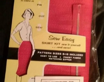 Vintage 1950-60 Red Pencil Skirt Kit-Do It Sew It Yourself Kit Size 8-16