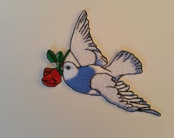 7.3 cm x 9.2 cm ( 2.87'' x 3.62'') dove with rose iron on or sew on patch Dove patchDove appliqueBird iron on patchBird patchesDove iron on