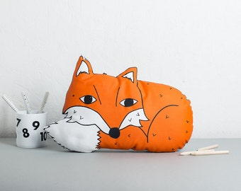 Fox Cushion, Woodland Nursery Cushion, Animal Pillow, Nursery decor, Handmade Pillow, Screen Printed Plush, Gifts for Children