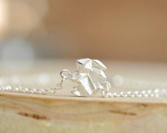 Origami Bunny Rabbit Charm Bracelet, Origami Animal Bracelets, Silver Bunny Rabbit Charm Bracelet, Origami Jewelry, Jamber Jewels 925