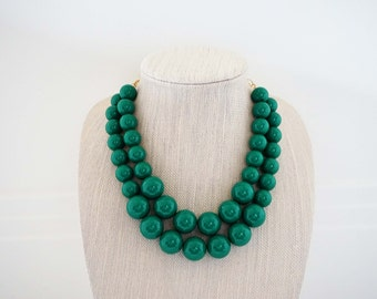 Big Emerald Green Beaded Necklace