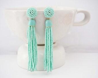 Mint Green Beaded Tassel Post Earrings