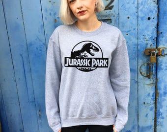 Vintage Style Jurassic Park Grey Sweatshirt Jumper