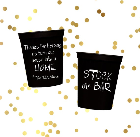 Stock the bar party, Engagement party cups, personalized plastic cups, Custom stadium cups, Wedding shower decor, Couples shower party favor