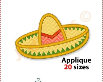 Sombrero Applique Design. Sombrero embroidery design. Mexican hat applique. Hat embroidery. Applique sombrero. Machine embroidery design