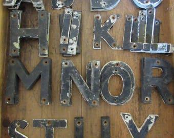 Vintage metal aluminium letters, metal letters, vintage metal letter, old letters, initials, name, town,phrase.