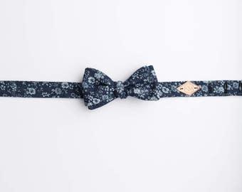 Denim Floral Bow Tie, Wedding Bow Tie, Boho Floral Bow Tie, Blue Floral Bow Tie, Fun floral bow tie, Denim Bow tie, Chambray Bow Tie