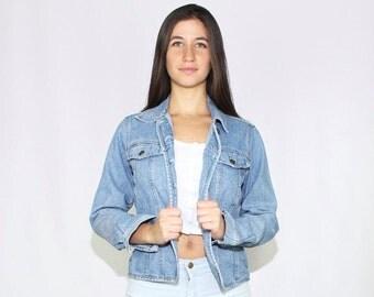 Denim Jacket Small, Womens Medium Wash Small Jean Jacket, Boxy Denim Jacket, 1990s Denim Jacket, Small Jacket Denim, Jean Jacket