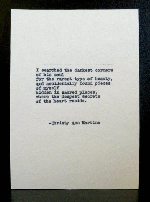 Romantic Gift for Him - Wall Art - Love Quotes - Poetry - Typed with Vintage Typewriter - Christy Ann Martine Poems
