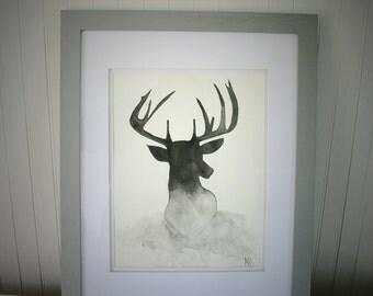 Deer Silhouette Framed Original Watercolor