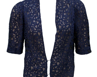 1930s Shrug Cover Up Lace Dark Navy Blue Blouse Shirt Plus Size Formal Wedding XL Crochet Wrap Bridesmaid Cocktail Art Deco Robe Tunic PinUp