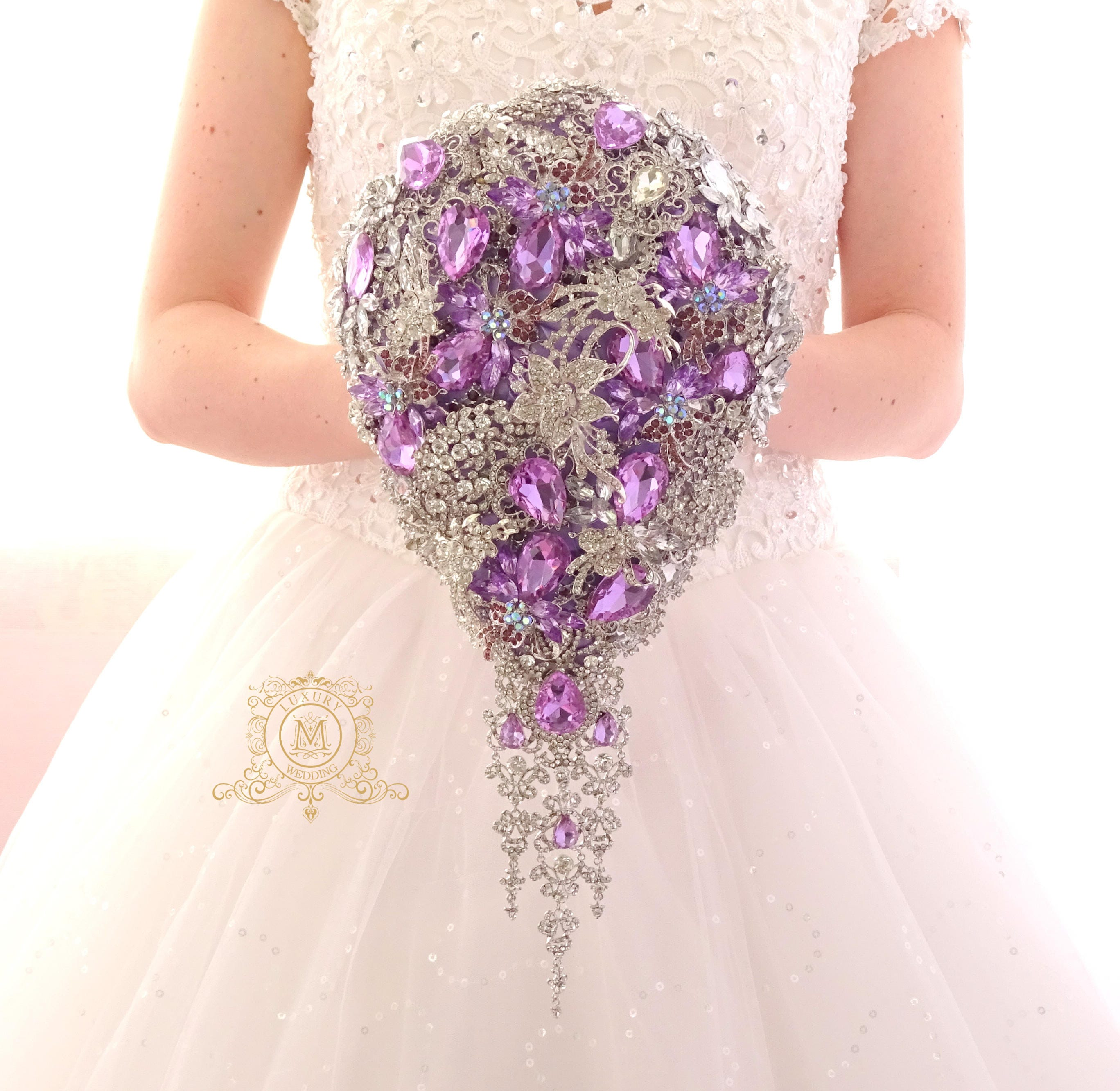 Brooch bouquet waterfall cascading design lavender purple for Waterfall design etsy