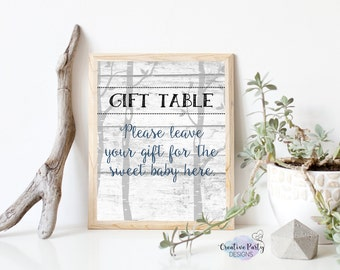 Rustic Baby Shower Decorations   Rustic Baby Shower Decor   Gift Table Sign    Boy Baby
