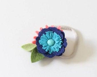 Boho felt flower headband, felt flower headband, Turquoise felt flower, Blue headband, baby girl headband, trendy headband, felt anemone
