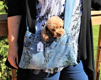 PET SLING CARRIER XSmall Teacup / Purse made from Upcycled Jeans Blue W/Stars