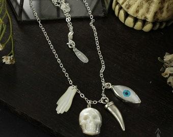 Hand necklace - Skull necklace - Bones necklace - Victorian necklace - Handmade