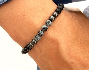 Karma Gems   Men's Black Onyx, hematite and Snowflake Obsidian  stretch  Bracelet - Stretch
