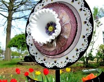 glass garden flower- outdoor decor- yard art, handmade plate flower-glass garden art-suncatcher- plate flower-Mother's Day gift, upcycled