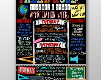 teacher appreciation week ideas, teacher appreciation week schedule, unique teacher appreciation week sign, staff appreciation week SCHRDM02
