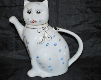 Kitty Cat Teapot , White with blue flowers and gold details , Individual Teapot for Tea Lovers