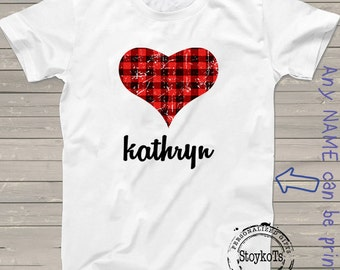 Kids Valentines tshirt personalized gift ideas for girls boys babies any name printed