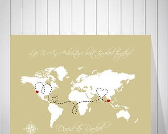 Wedding Sign World Map | Travel World Map Wrapped Canvas | Alternative Wedding Map Guest Book | Watercolor Print - 60077