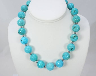 Nacozari Turquoise Necklace, Rare Beads, Genuine Turquoise, Grade AA, 16.8 MM Beads, Bead Necklace, Sterling Bali Beads