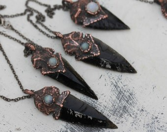 Black Electroformed Obsidian Arrowhead Arrow & Moonstone Crystal Tribal Primitive Rustic Mens Pendant/Necklace in Copper