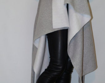 Gray Loose Aymmetrical Cardigan/All Season Cape Coat/Poncho/ Long Sleeve Trench Coat/Jacket for Women/High Quality Vest/F1365