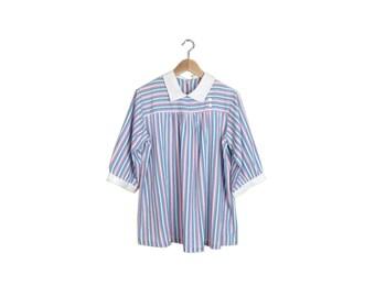 Vintage 80s Lolita Pastel Striped Tunic Blouse Size L