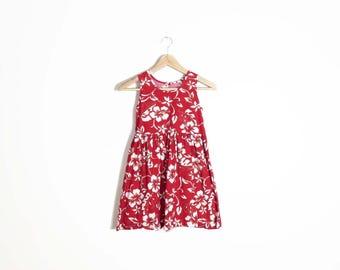 Vintage 90s Hawaiian Cotton Girls Sun Dress