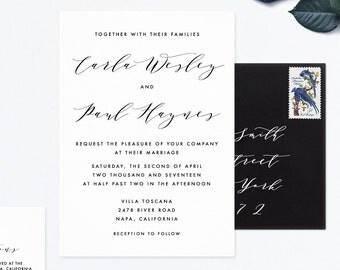 Stationery Wedding Suite, Calligraphy Wedding Invitation Set, Calligraphy Invite, Wedding Calligraphy Suite, Classic Wedding Set