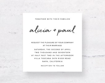 Modern Wedding Suite, Wedding Minimalist Invite, Wedding Modern Invitation Set, Handwritten Invite, Digital Download, DIY Stationery