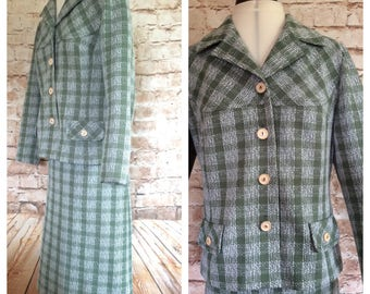 Vintage Skirt Suit Green Check Polyester Wiggle Mad Men Secretary Teacher School Mistress c1960s 42 in Bust 30 in Waist