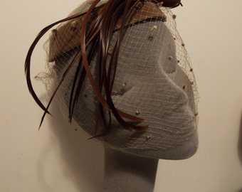 Vintage Ladies Hat 1950's Mink Velvet Halo Hat with Toning feather bird with long feather down side fantastic look